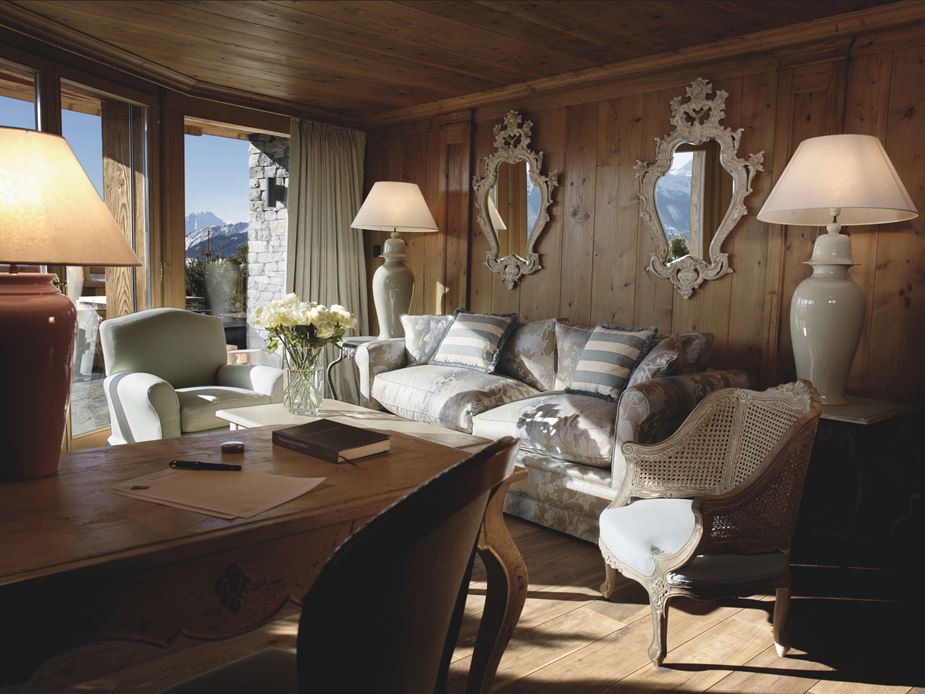 Rustic Style Decorated Suite in Swiss Alps Spa Hotel Lecrans