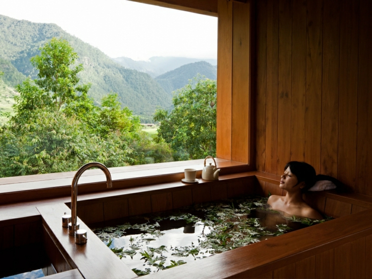 herbal bath himalayan bhutan rustic hotel