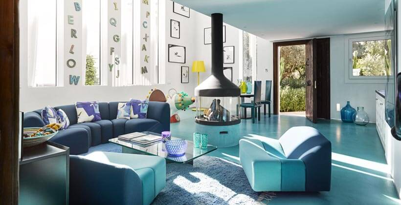 luxury decorated in blue living room at marbella club hotel
