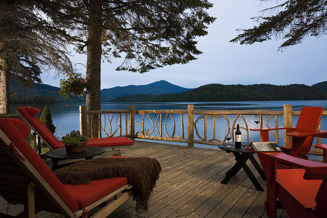 cabin deck view over lake romantic