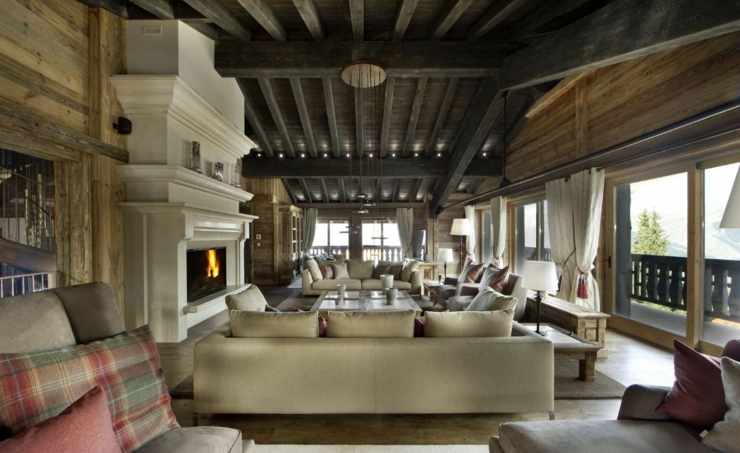 fireplace luxury ski chalet in france