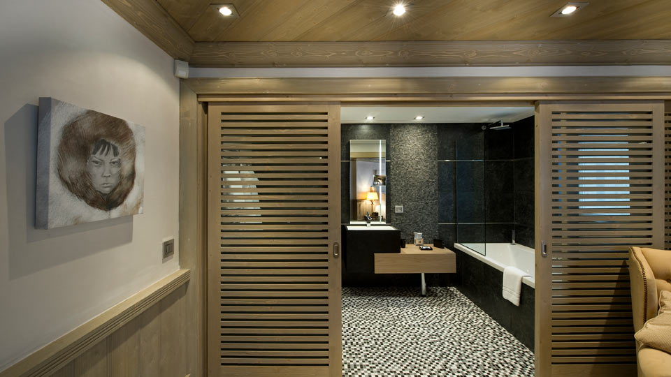 modern bathroom in french alps chalet for rental