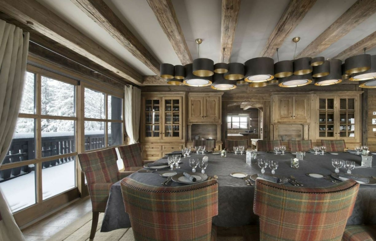 dining room in luxury ski chalet in french alps