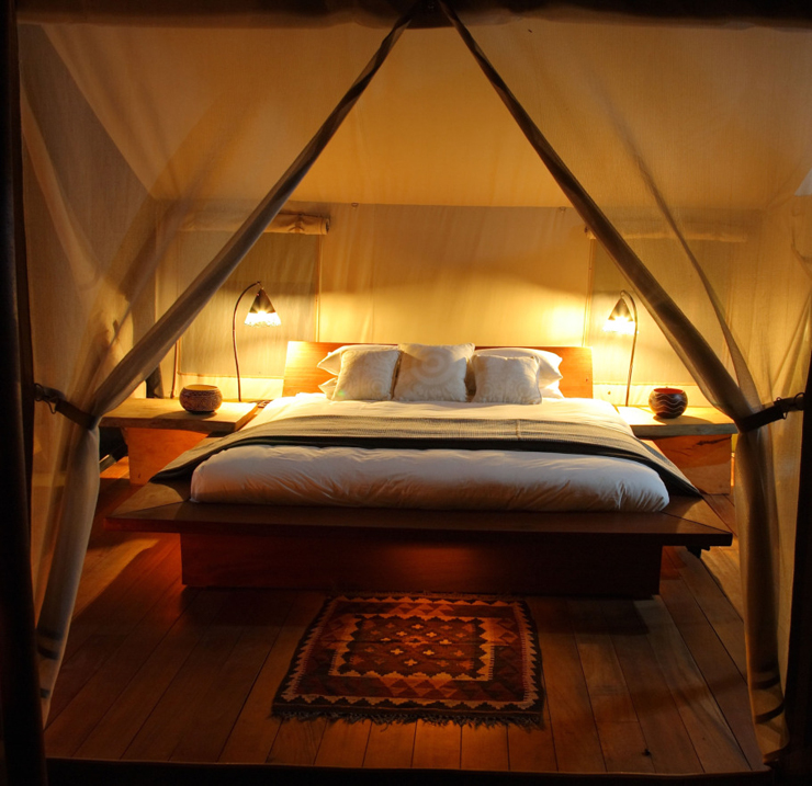 Tent double bed sized luxury amenities