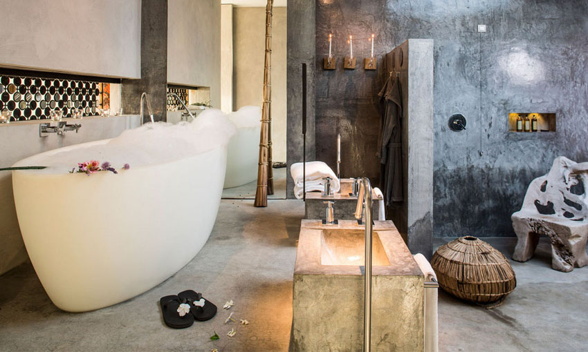 Suites interior bathroom, spacious, designed in industrial-rustic modern style