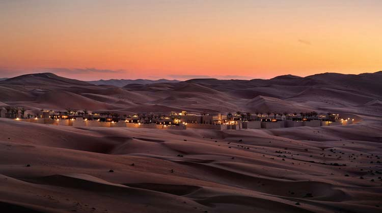 Emirates palace Qasr Al Sarab nestled in desert
