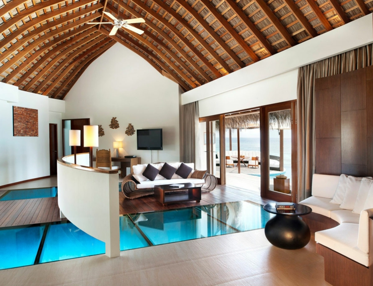 stylist and luxury sir la table. Villa stylish interior with tropical furnished W Retreat  luxury resort in Maldives