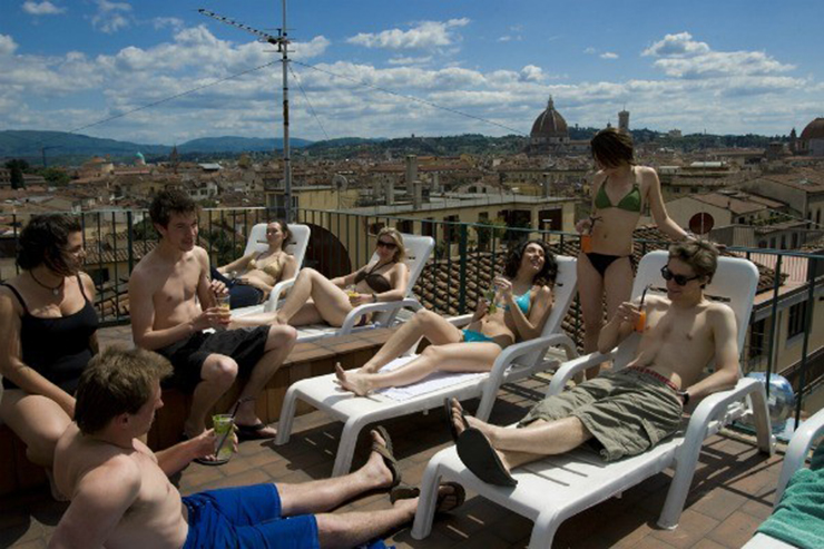youth company plus hsotel terrace view over florence