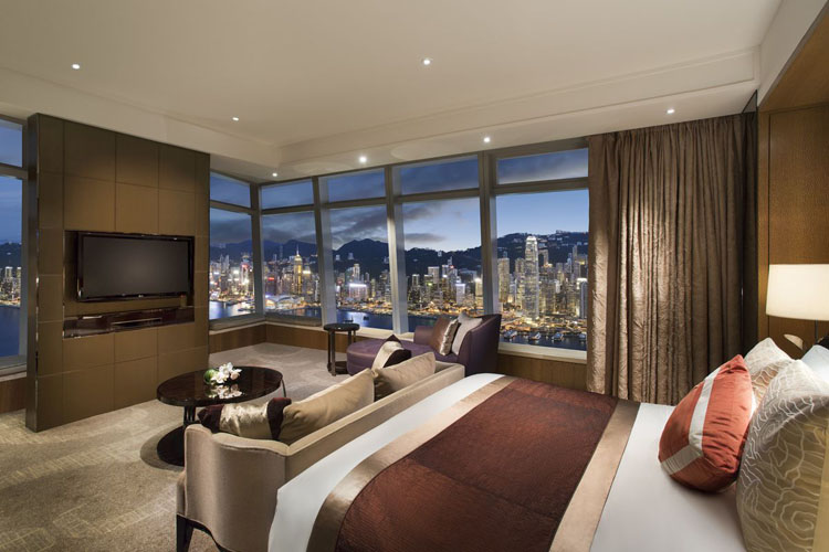 prestigious city hotel suite with panorama over the town