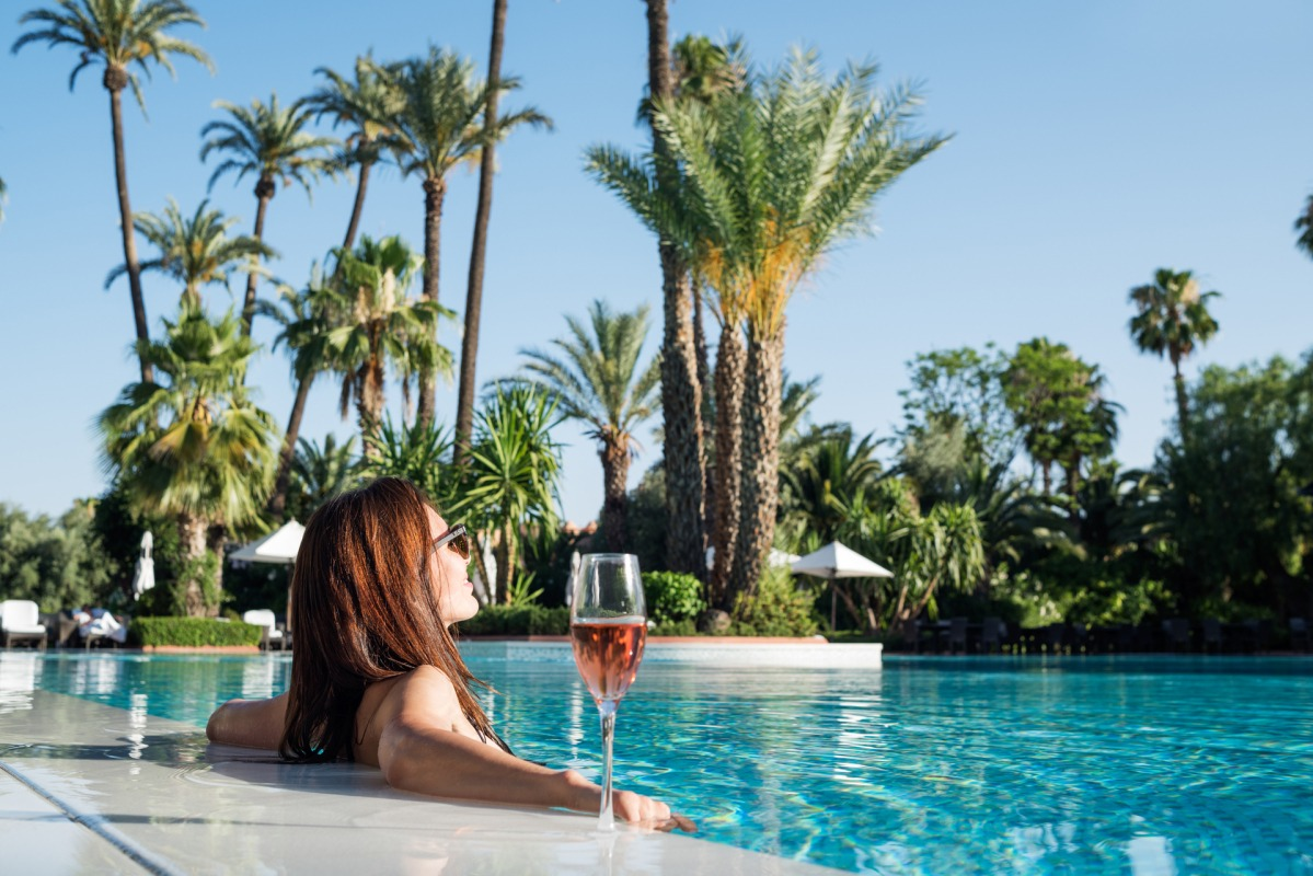 Relax at La Mamounia Hotel's Outdoor Pool in Marrakesh
