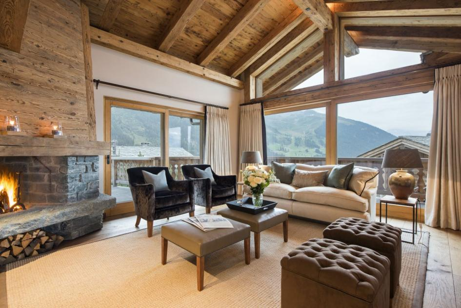 chalet sirocco living area with large french windows