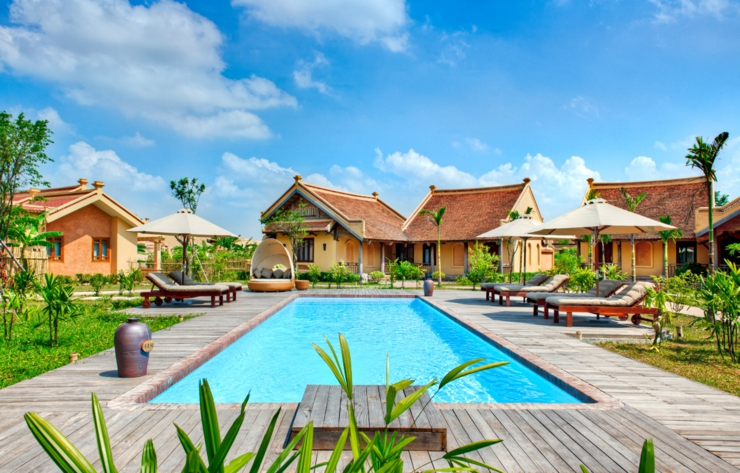 outdoor pool luxury exotic villa in vietnam