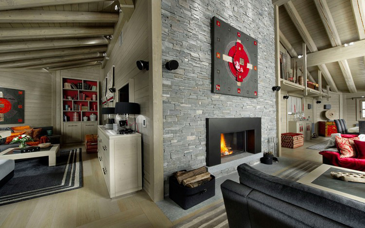 spacious living room baltoro ski chalet Courchevel