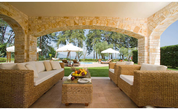 outdoor area for coffee and tea for luxury vacation in corfu