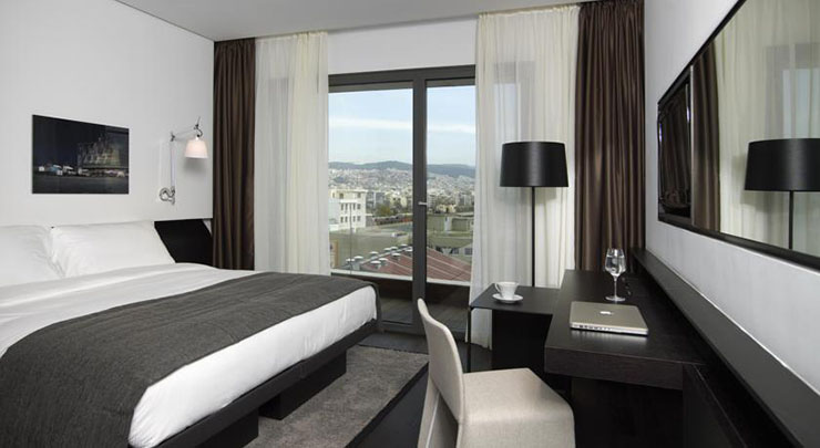 hotel guestroom white and gray design