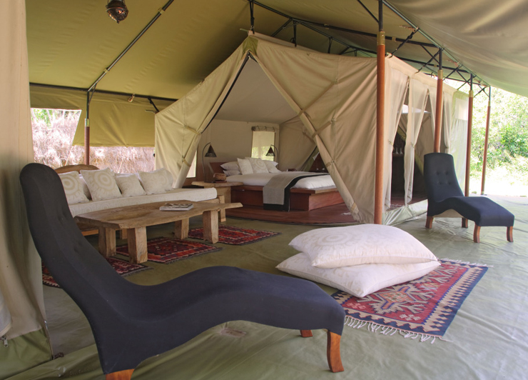 Luxury eclectic designed tent in Kenya