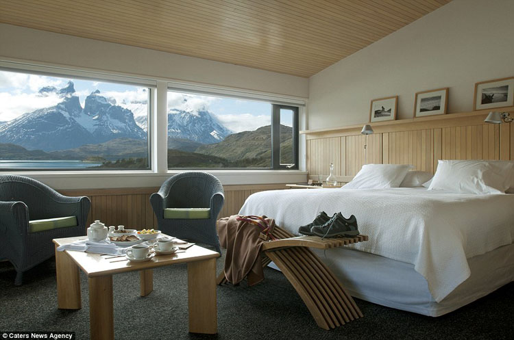 beautiful hotel room with gorgeous mountain view
