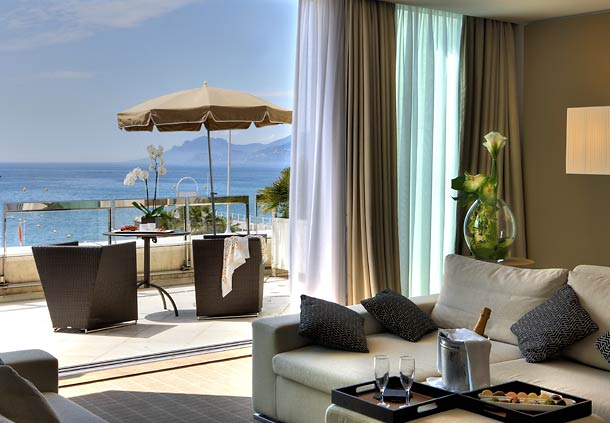 luxury suite hotel marriott cannes with sea view balcony