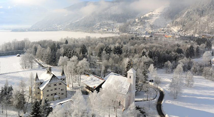 hotel castle austria lake zell winter view