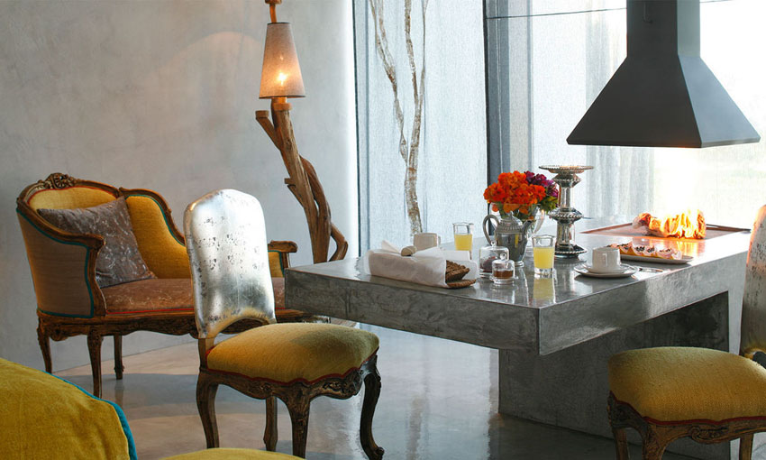 Luxury designed furniture combined with rustic and locally crafted artistic piece