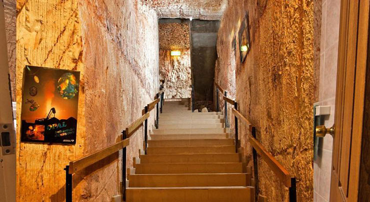 opal mine stair case leads to underground hostel