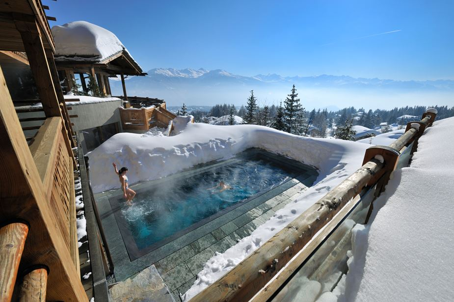Enjoy an Outdoor Heated Pool with Great View to Valais Peaks