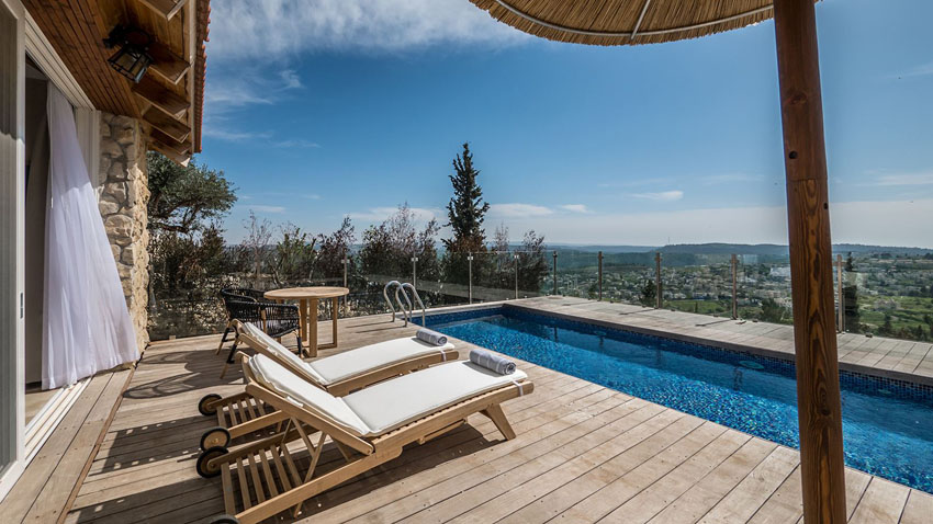 wood terrace with private heated pool and view