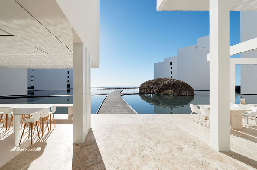 interior yard water pools and restaurant hotels mar adentro mexico