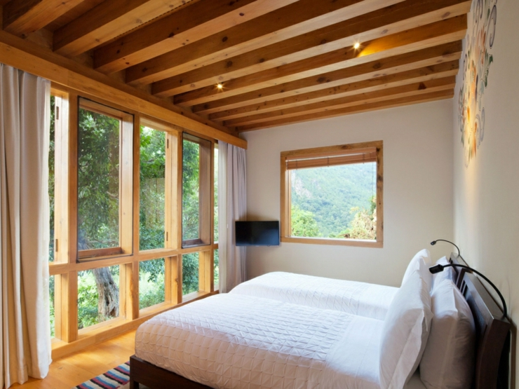 lovely room view on the mountain bhutan rustic design hotel