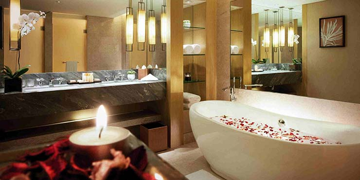 romantic designed bathroom at marina bay singapore hotel