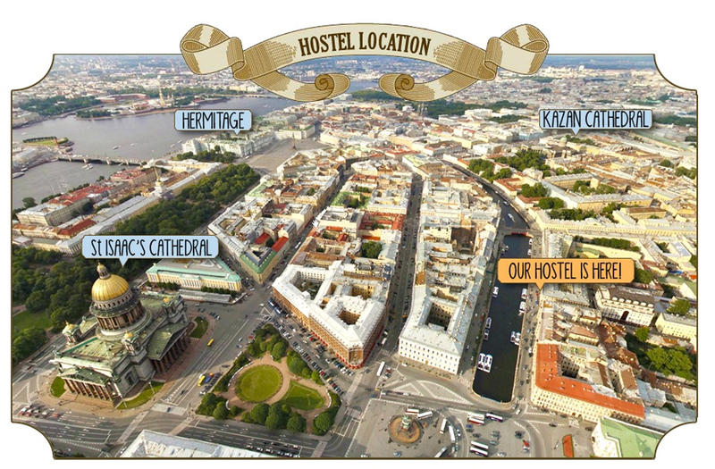 map of soul kitchen hostel location and st.petersburg sights