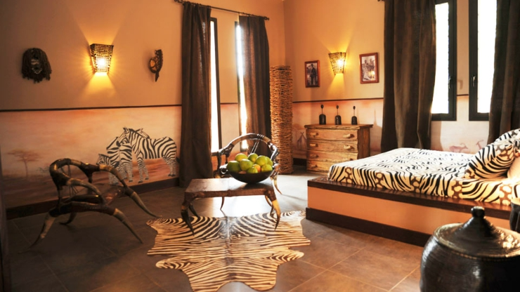 One of the five suite decorated in very unique savannah way interior african suite villa
