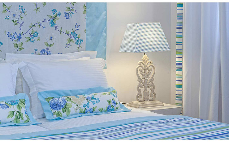 bedroom in light blue color accommodation corfu greece