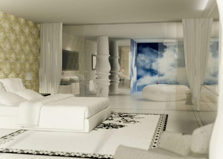 beautiful luxury suite in white mondiran south beach hotel in miami