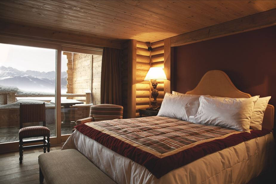 Cozy Bedroom in Swiss Alps Hotel LeCrans