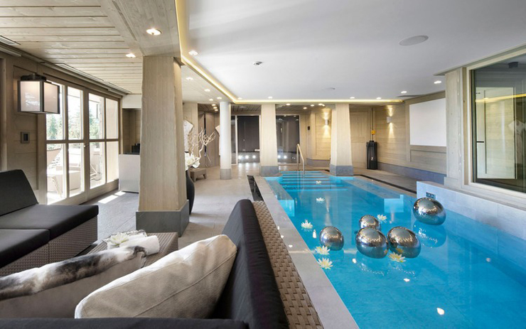 Luxury ski chalet outdoor spa center