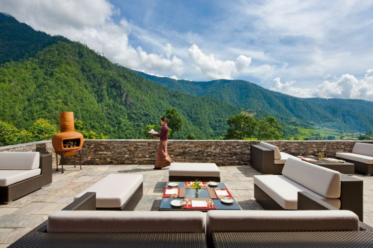 bhutan rustic design luxury hotel terrace