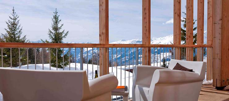 Aguille Grive Chalet Terrace French Alps Hotel