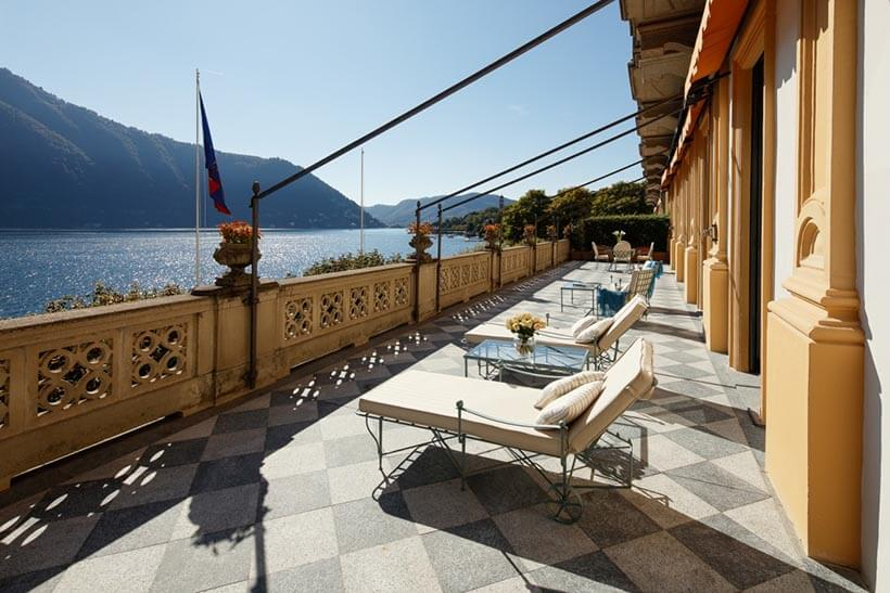 luxurious guestrooms terrace overlooking lake camo north italy