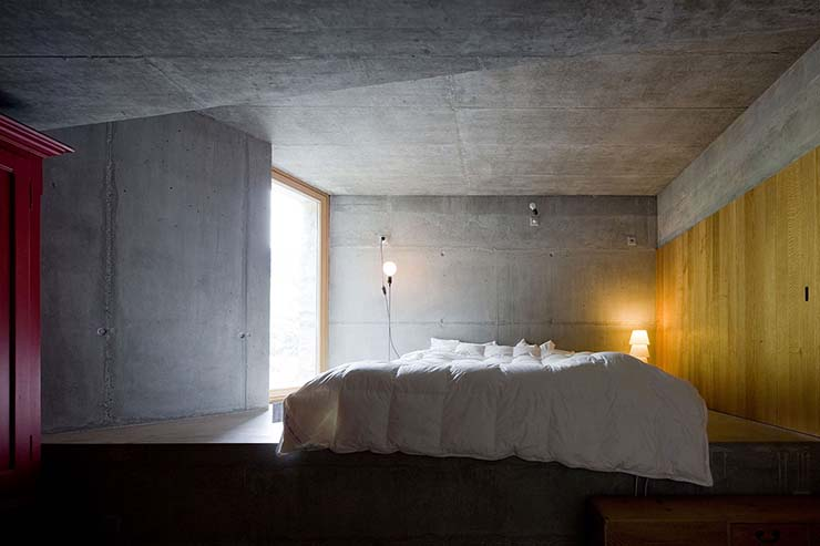 concrete designed bedroom villa vals
