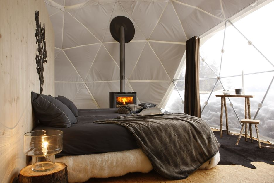 Every Dom Shaped Tent is with Comfortable King Size Bed and Wooden Burning Stove