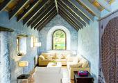 blue designed living room villa for rental in spain