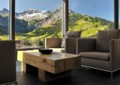 great panorama over the mountain modern hotel in Switzerland