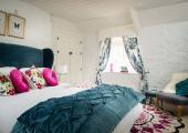 modern deco cottage bedroom for two