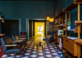 public area retro design hostel in milan