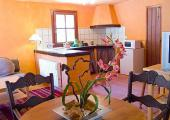 open kitchen and dining room with orange decorated walls