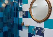 creative colors hotel bathroom in Paris