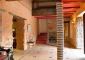 rustic style decorated spanish villa entrance