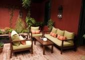 red walls and green plants lounge luxury hotel buenos aires