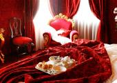 dark red stylish guestroom hotel venice